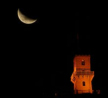 Centenary Tower with the setting Moon by Biggzie