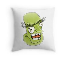 Mad Monster Man with Evil Expression Throw Pillow