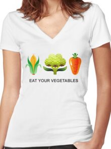 Eat Your Vegetables Women's Fitted V-Neck T-Shirt