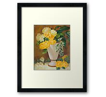 Golden Dahlias Oil Paintng Framed Print