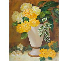 Golden Dahlias Oil Paintng Photographic Print
