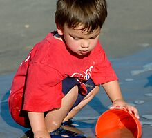 Water and Sand = Happy Child by Mary Campbell