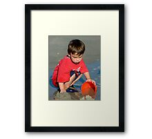Water and Sand = Happy Child Framed Print