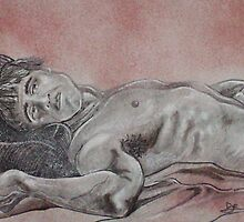 Male Nude Laying Down (Drawing)- by Robert Dye