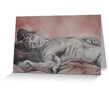 Male Nude Laying Down (Drawing)- Greeting Card