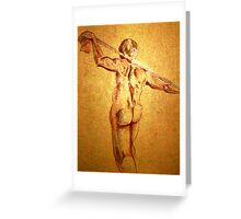 Standing Male Nude (Digital Alteration of Drawing)- Greeting Card