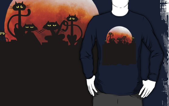 Black Cats On A Fence and Moon by Lotacats