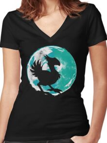 Wark at the Moon Women's Fitted V-Neck T-Shirt