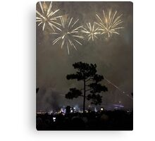 Foggy Fireworks Canvas Print