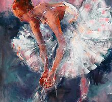 Ballet Dancer in White Dress Tying Shoe Ribbons by Ballet Dance-Artist