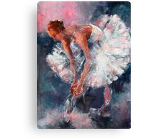 Ballet Dancer in White Dress Tying Shoe Ribbons Canvas Print