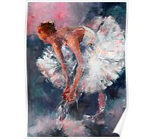 Ballet Dancer in White Dress Tying Shoe Ribbons Poster