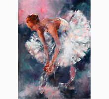 Ballet Dancer in White Dress Tying Shoe Ribbons Unisex T-Shirt
