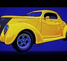 Yellow Ford Coupe in a Poster Style Format by ChasSinklier