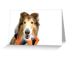 Collie in Jester Collar for Halloween Greeting Card