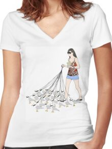 My pet seagulls Women's Fitted V-Neck T-Shirt