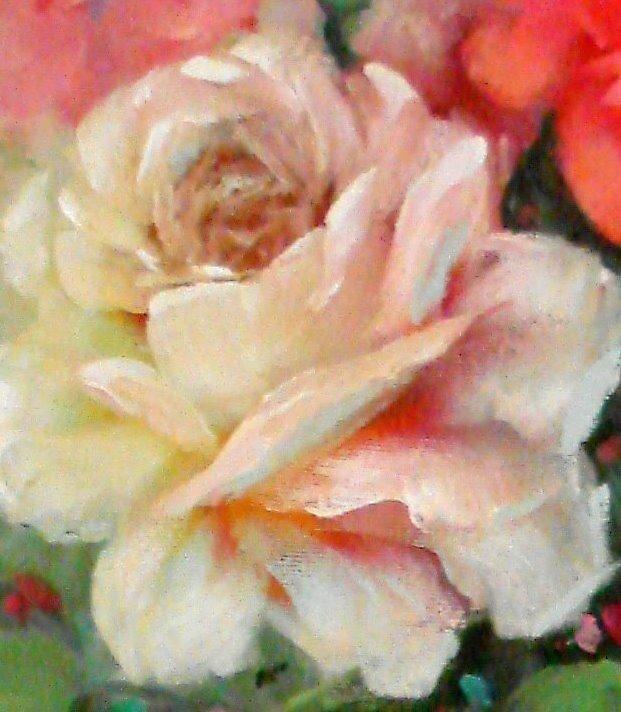 Multi colored White Rose by Cathy Amendola