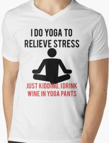 I Drink Wine In Yoga Pants Mens V-Neck T-Shirt