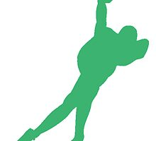 Green Speed Skater Silhouette by kwg2200