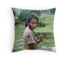 Shy Girl Throw Pillow