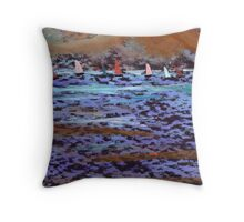 The yatch race Throw Pillow
