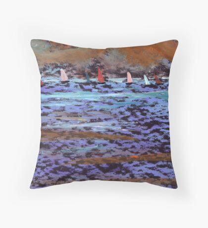 The yatch race Throw Pillow