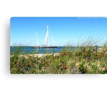 #513   Grassy Dune & Yacht Canvas Print