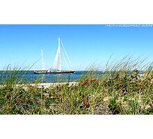 #513   Grassy Dune & Yacht Photographic Print