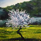 ALMOND TREE IN BLOSSOM - very much inspired by impressionist masters... Van Gogh, Monet, Pissaro, Renoir...  by lizzyforrester