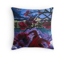 Fish and Flowers (Elegant) Throw Pillow