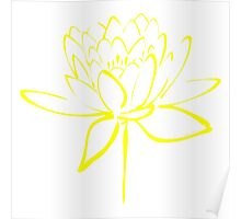 Lotus Flower Calligraphy (Yellow) Poster