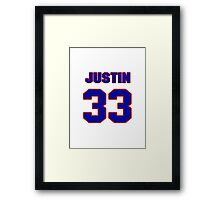 National football player Justin Rowland jersey 33 Framed Print