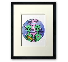 2 Aliens 1 Cat Framed Print