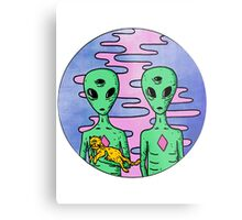2 Aliens 1 Cat Metal Print