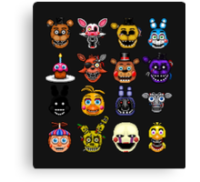 Five Nights at Freddy's - Pixel art - Multiple characters Canvas Print