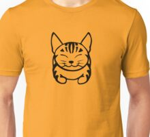 Happy Cat - Tabby (black) - Large pic Unisex T-Shirt