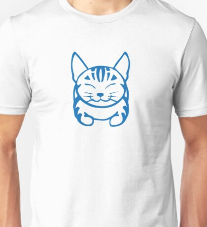Happy Cat - Tabby (blue) - Large pic Unisex T-Shirt