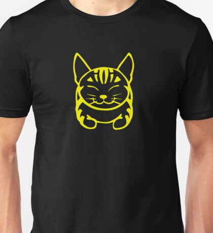 Happy Cat - Tabby (yellow) - Large pic Unisex T-Shirt