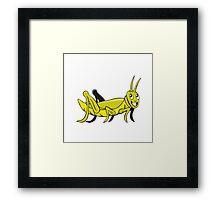 Grasshopper Crawling Side Cartoon Framed Print