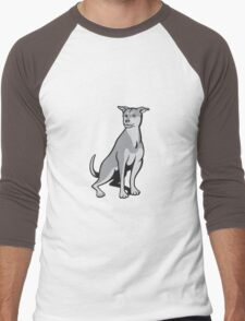 Husky Shar Pei Cross Dog Sitting Cartoon Men's Baseball ¾ T-Shirt
