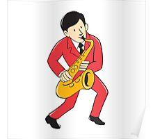 Musician Playing Saxophone Cartoon Poster