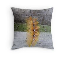 orange caterpillar Throw Pillow