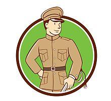 World War One British Officer Circle Cartoon by patrimonio