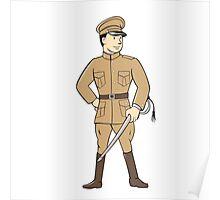World War One British Officer Standing Cartoon Poster
