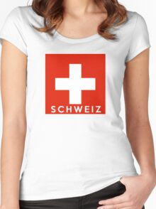 flag of Switzerland Women's Fitted Scoop T-Shirt