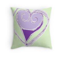 Purple & Peppermint Heart Throw Pillow