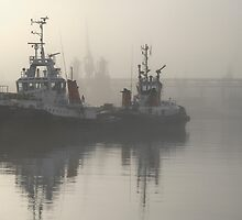 Tugboats in the mist by awefaul