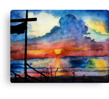 Sunset beach, Arambol, India, Goa, paper watercolor, ink pen Canvas Print