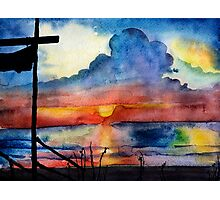 Sunset beach, Arambol, India, Goa, paper watercolor, ink pen Photographic Print