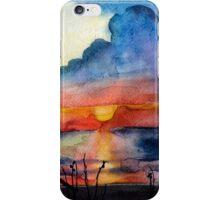 Sunset beach, Arambol, India, Goa, paper watercolor, ink pen iPhone Case/Skin